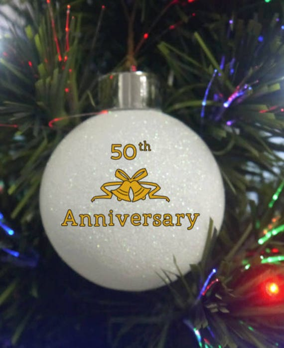 Personalized Glittered White Anniversary ornaments, 50th Anniversary Ornaments, Christmas ornament, Happy 50th Anniversary Ornament