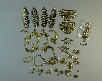 Gilt Metal Embellishments for Collage, Crafts, Journaling, Canvas Work, Needlework, etc.