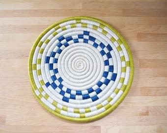 African Woven Trivet // Rwanda Basket // Sisal & Sweetgrass // Green, Blue, White