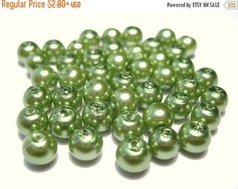 50% OFF Clearance Sale-- Olive Green Glass Pearl Beads, 6mm Round G-1