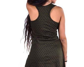 SACRED GEOMETRY DRESS, Flower of Life Yoga Dress, Cotton Racer Back Mini Boho Little Green Dress, Psy Trance Dress, Festival Clothing