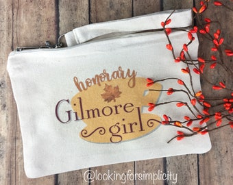Honorary Gilmore Girl Zipped Pouch (bag) - Inspired by the show set in Stars Hallow, CT - Perfect for Small Purse, Makeup, Pencils etc