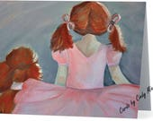 """Standard Poodle and Ballerina Note Card  """"Girls Best Friend"""""""