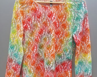 Floral Embroidered Tie Dye Spiral Top, Long Sleeved, Women's, Girl's, Adult Size Large, Summer, Flowers, Hippie, Boho
