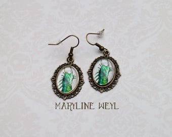 Earrings Cabochon green dragon