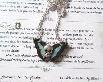 Silver skull black and turquoise Butterfly Necklace