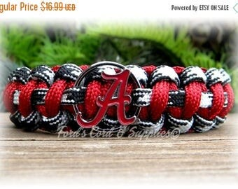 SALE Alabama Crimson Tide Bear Bryant Edition Bracelet, Paracord Survival Bracelet, Unisex Adult Bracelet, Child's Bracelet, Fan Gear, Gift