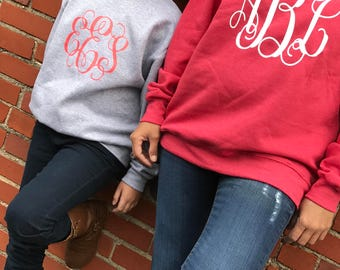 monogrammed sweater, monogrammed sweat shirt, personalized sweater, gifts under 20, monogrammed youth sweater