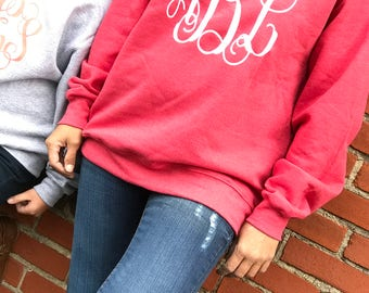monogrammed sweater, monogrammed sweat shirt, monogrammed shirt, personalized sweater, gifts for her, gifts under 20