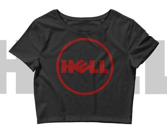 Gothic Crop top Pastel goth shirt Nu goth Womens tshirts Tops Hell Satanic Logo shirts Dark humor Parody Evil Satan Computers Technology