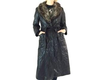 Vintage 70s Long Leather Fur Collar Belted Coat / Brown Fur Collar Black Leather Jacket / 70s Spy Glam Mod Princess / Formal Opera Coat S M