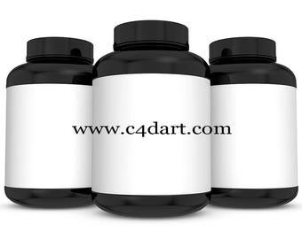 Supplement Bottle Mock-Up,Realistic 3D Bottle Mock Up,Bottle 3D Rendering,Supplement Packaging Mock Up