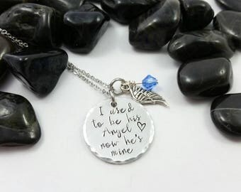 I used to be his Angel, now he's mine necklace, sympathy necklace, angel wing necklace, bereavement necklace, sympathy necklace, loss gift
