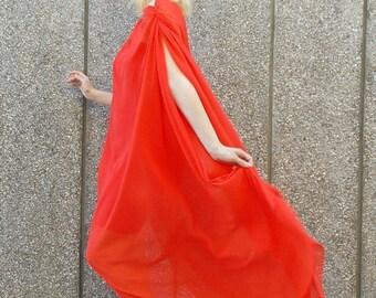 ON SALE Kaftan Cover Up, Red Chiffon Dress, Summer Maxi Dress, Cocktail Dress, TDK71, Plus Size Maxi Dress, Asymmetrical Dress, Teyxo