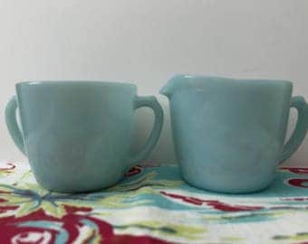 Vintage Fire King Turquoise Blue Creamer and Sugar