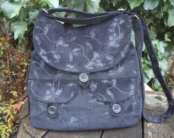 Black floral corduroy buttoned big bag