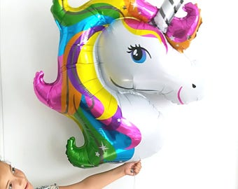 UNICORN balloon helium GIANT mylar  33 inches, pink party summer jungle deco fun design it fairyland birthday girl dream SALES helium
