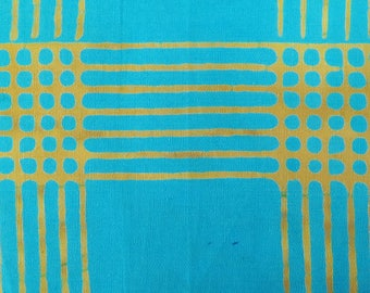 1/2 Yard Chroma Handcrafted Batik Plaid in Turquoise from Andover designed by Alison Glass 8132-T