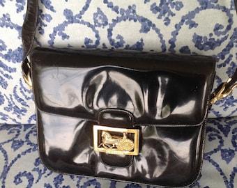 Vintage CELINE Black Patent Leather Handbag