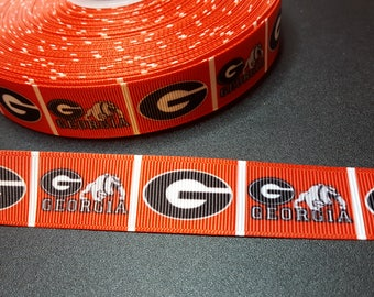 UG Univ of GA bulldogs printed 7/8 inch grosgrain ribbon for hair bows, scrapbooking, other crafts - sold in 1, 3, or 5 yard lengths - M2646