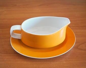 "MIKASA Mediterrania Yellow ""Mustard"" Gravy Boat and Drip Plate | Japan"