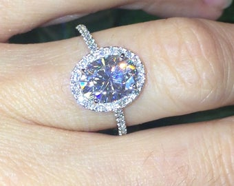 Forever One Moissanite Engagement Ring 2.10ct Oval Ring Natural Diamonds Halo Ring 14k White Gold Ring Classic Halo Pristine Custom Rings