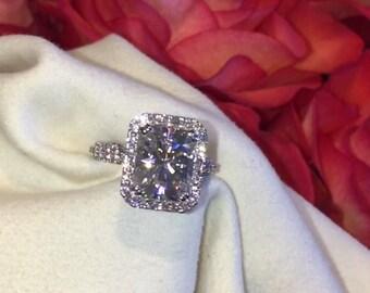Forever One Moissanite Engagement Ring 3.90ct Moissanite Ring 1.50ct Natural Diamonds Butterfly Ring Heart Eternity Pristine Custom Rings