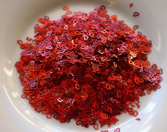 red heart mix confetti // red heart and hollow heart mix confetti // valentine's confetti // heart glitter // valentine's glitter