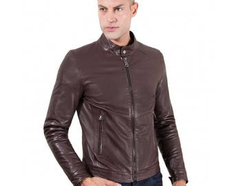Genuine leather biker jacket, korean collar, smooth soft lamb leather, brown color