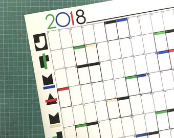 2018 A1 Year Planner Wall Chart Organiser - RGB - large graphic calendar print poster