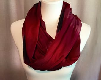 Red and purple infinity scarf / infinity scarf / maroon infinity scarf / red infinity scarf / tie dyed infinity scarf