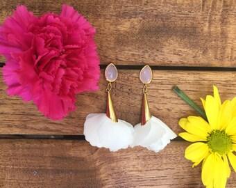 White Rose Petal Earrings