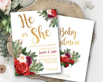 Holiday Gender Reveal Invitation // Christmas Gender Reveal // He or She // Winter Gender Reveal // Red // Green // WHISTLER COLLECTION