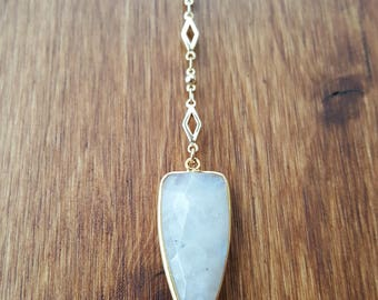 Faceted Moonstone Arrowhead Lariat Necklace 14K Gold Filled / Y-Necklace / Moonstone Pendant / Moonstone Y-Necklace  / Moonstone Drop