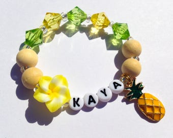 Pineapple bracelet for little girls pineapple jewelry toddler fruit bracelet fruit jewelry wooden beads bracelet yellow green summer