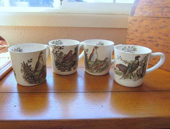 Game Bird Coffee Mugs Set of Four Johnson Bros England