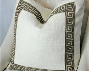 SALE, Designer Pillows, Greek Key Designer Pillow Cover, Designer Pillow Cover 16x16, 18x18, 20x20, 22x22, 24x24, 26x26, P Kaufmann