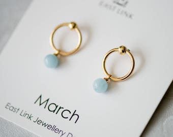 14K gold plated natural stones March Birthstone aqua blue stud drop earrings hoop birthday gift