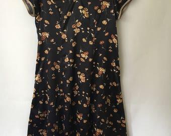 Romantic Vintage Lisa Flower Silk Dress / Black Flora Dress