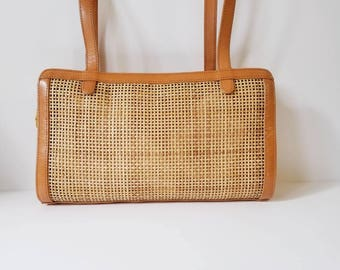 Vintage Tan Leather Straw Purse