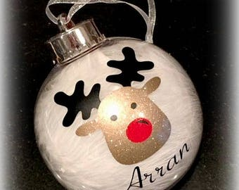 Personalised Rudolph Christmas Bauble | Christmas Tree Decoration | Reindeer Bauble | Children's Christmas Decorations