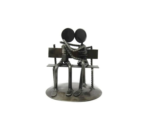 Vintage Recycled Metal Park Bench Sweethearts Sculpture by Armando Ramírez - Made in Mexico - Novica Romantic Statue - Office Study Library