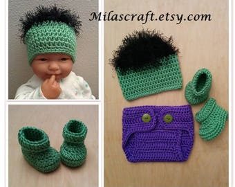 Mix and Match! Incredible Hulk Crochet Baby Boy Set: Hat,Diaper Cover,Booties,Newborn Coming Home Outfit,Baby Shower Gift,Gift,Photo Prop
