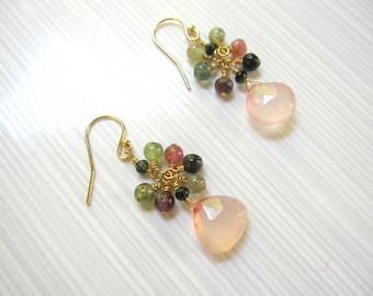 Rose Quartz Briolettes, Watermelon Tourmaline, Blush Pink, 2017, Gold Fill Earwires, Feminine Earrings, Rose Quartz Earrings