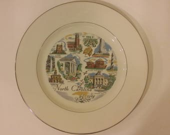 Vintage North Carolina State Souvenir Plate by Triomphe,