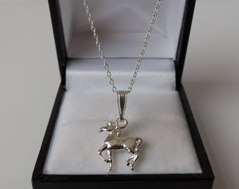 Sterling Silver Horse Pony Pendant Necklace.