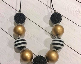 Gold and  Black Chunky Bubblegum Necklace