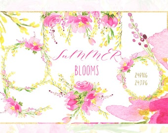 Watercolour Flowers  clipart. Hot pink, yellow blooms watercolor clipart. Bright pink watercolour wreath, header, flowers.