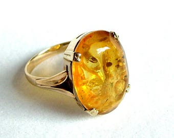 Art Deco Natural Baltic Amber Gold Ring *  Large Amber Gold Ring * Natural Baltic Amber Ring * Baltic Amber Gold Ring * Amber Ring