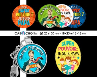 Super power dad • 60 Images Digital round 25 and 20 mm and oval 18 x 25 and 13 x 18 mm dad hero super Darling Page batman superman super